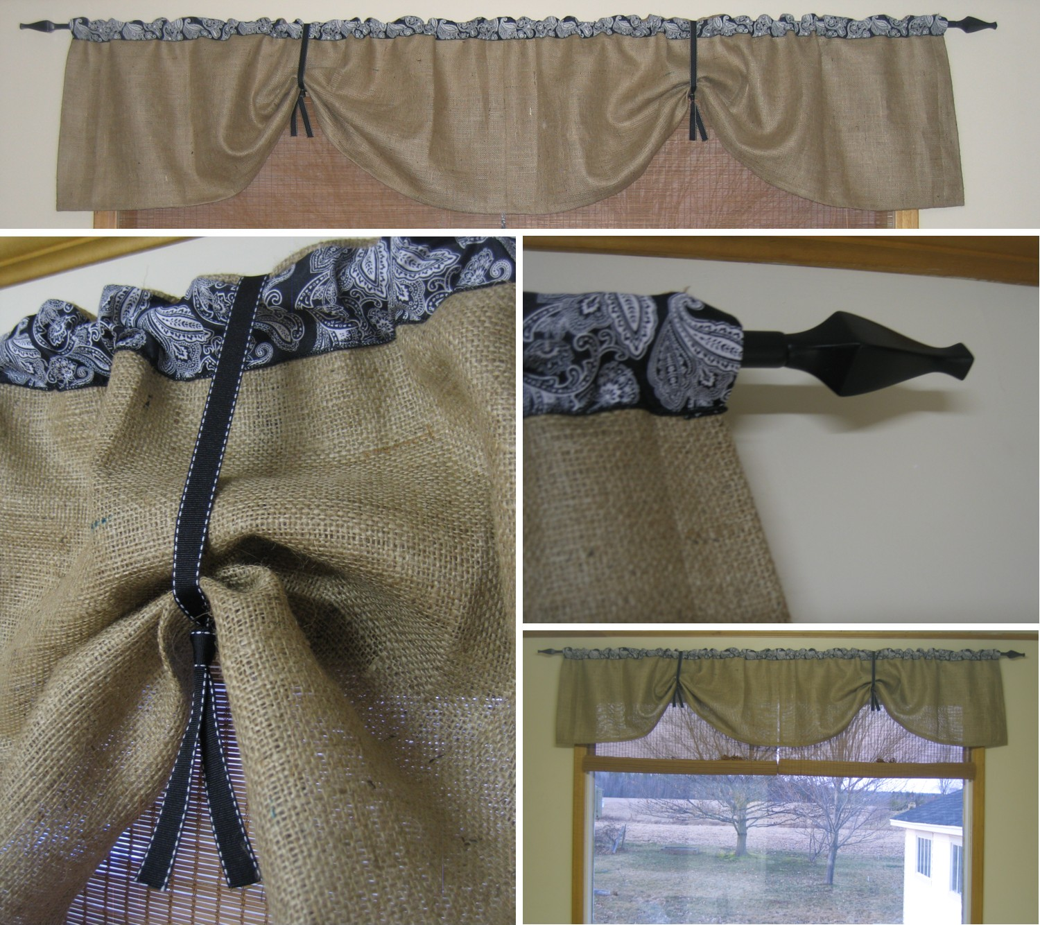 Burlap kitchen curtains no sew - Burlap Kitchen Curtains I Used A Piece Of Burlap 36 X54 Cut In Half Lengthwise