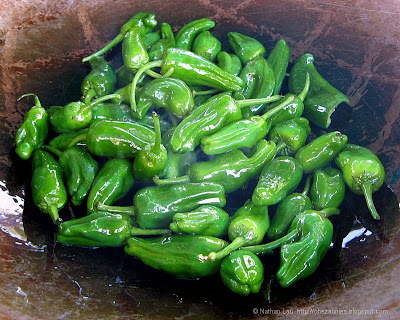 Frying the Pimientos de Padron