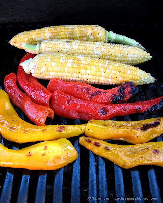 Grilled Bicolored Corn and Corno di Toro Peppers