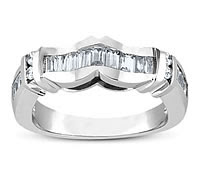 Lady Brilliant Round and Baguette Diamond Wedding Band