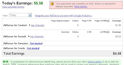 google earnings payment proof