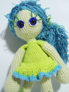 crochet amigurumi doll girl handmade unique sea blue yellow green toy gift