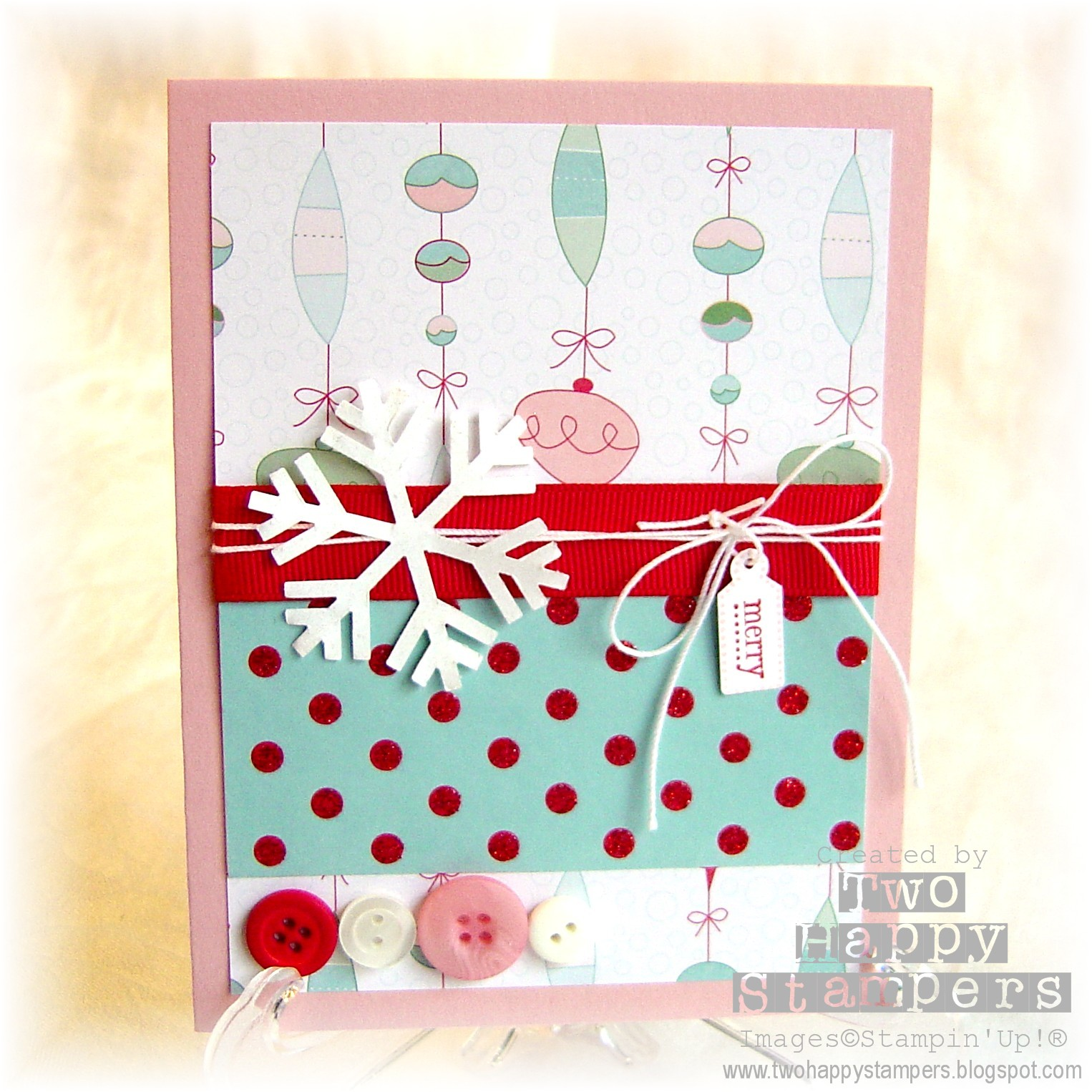 Two Happy Stampers Button Christmas Card Holiday Link Party