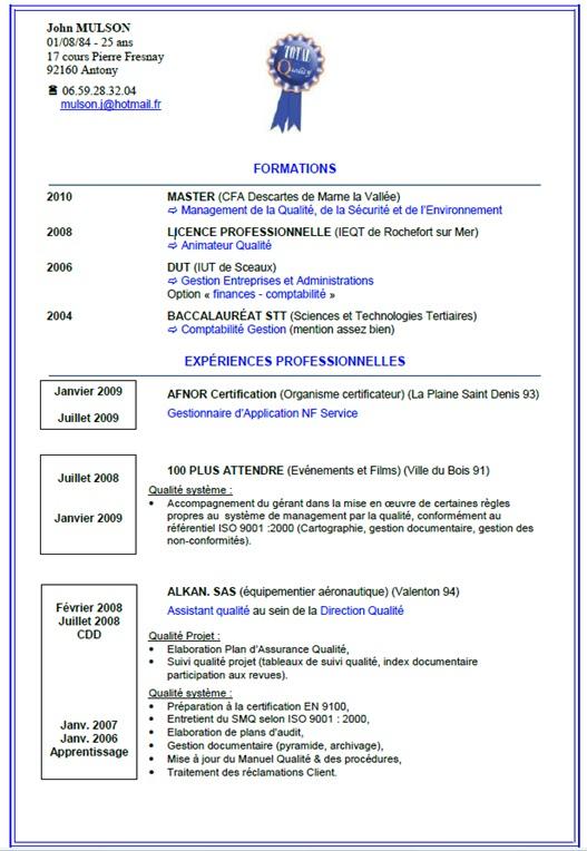 curriculum vitae exemples francais