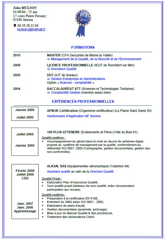 exemple de cv cuisinier collectivite
