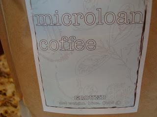 Close up of bag of Microloan Coffee