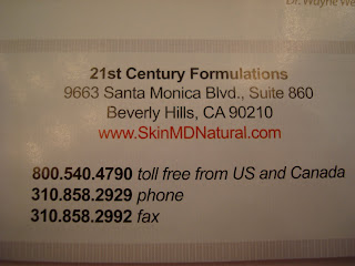 Skin MD Naturals business card