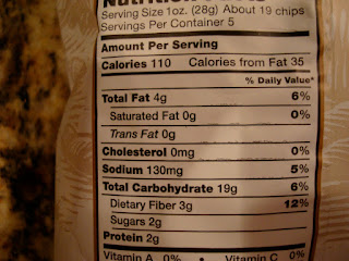 Nutrition Facts on Multigrain Chips
