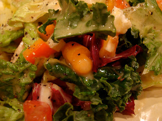 Mixed greens with vegetables and Vegan Holiday-Spice Orange Vinaigrette