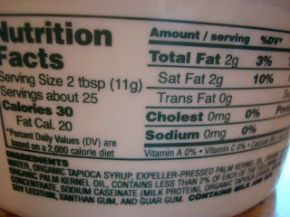 Nutrition Facts on Whipped Topping Container