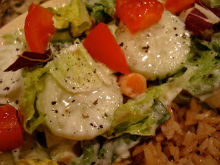 Salad dressed with Vegan Creamy Tahini Cesar-Inspired Dressing