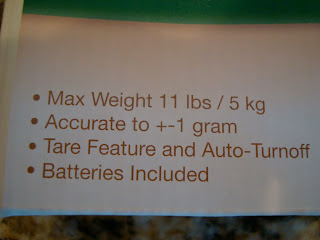 Information on box of food scale