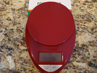 Close up of red Food Scale