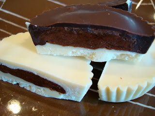 Vegan White and Dark Chocolate Peanut Butter Cups stacked and cut in half