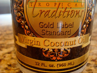 Close up of label on container of Tropical Traditions Coconut Oil
