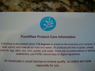 Pure2Raw Product Care Information Card