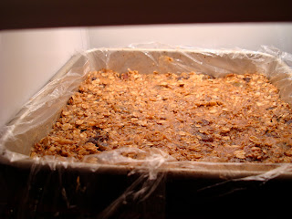 No-Bake Vegan Peanut Butter Protein Bars in pan placed in freezer