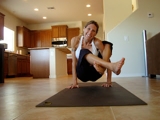 Woman doing Floating yoga position