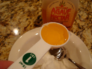 Agave nectar in measuring spoon