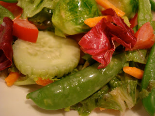 Salad with mixed vegetables close up