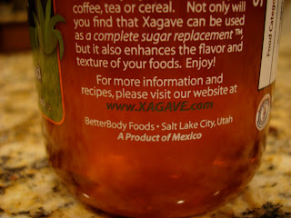 Xagave company information on bottle