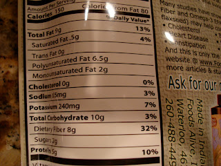 Nutrition Label of Flax Crackers