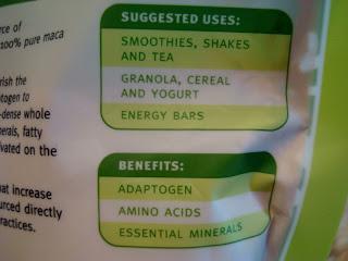 Back label of Maca Powder