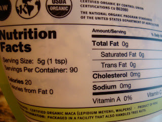 Nutrition Facts on Maca Powder