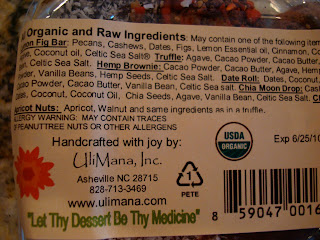 Label on back of Tao of Cacao treats