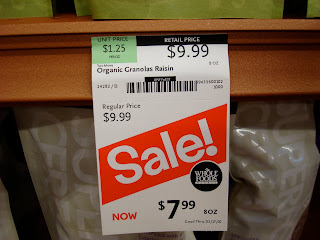Organic Granola Price Sale Tag