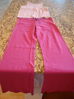 Dark pink yoga pants and light pink tank top