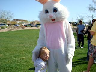 Young girl hugging Easter Bunny