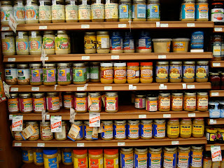 Shelves of various nut butters