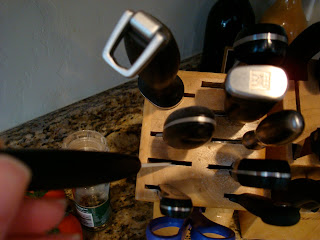 Knife block with various knives