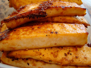 Side view of Sesame Ginger Maple Baked Tofu slices