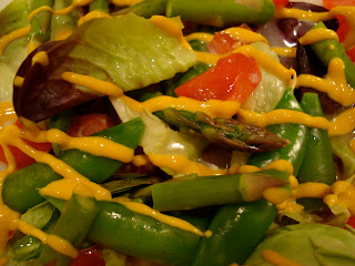 Close up of Mustard drizzled salad