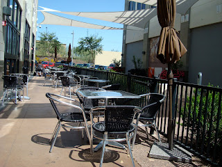Outdoor seating at coffee shop
