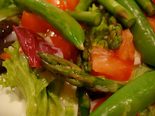 Close up of green salad with vegetables