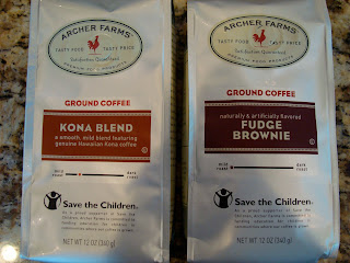 Kona Blend and Fudge Brownie coffees