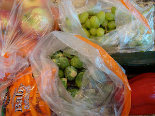 Bags of produce close up
