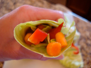 Inside view of Raw Vegan Cabbage Wrap