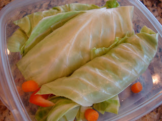 Cabbage Wraps in clear container