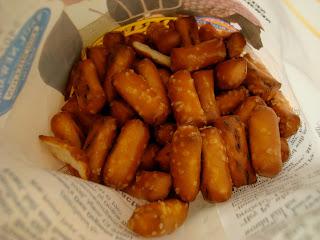 Inside bag of pretzel nuggets showing pretzels