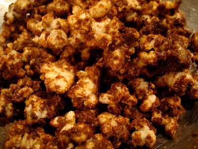 Overhead of Chocolate Coconut Oil Protein Popcorn