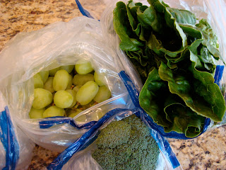Romaine, Broccoli and Grapes