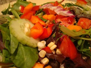 Close up of salad with mixed vegetables in bowl