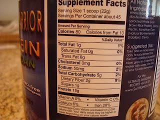 Sun Warrior Brown Rice Protein Powder nutritional information on container