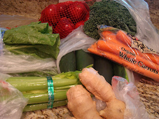 Bagged various vegetables on countertop