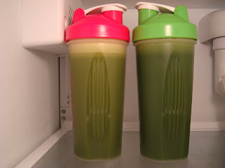 Two green smoothies in refrigerator