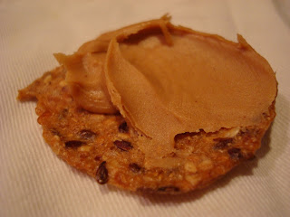 Peanut Butter spread on gluten free cracker